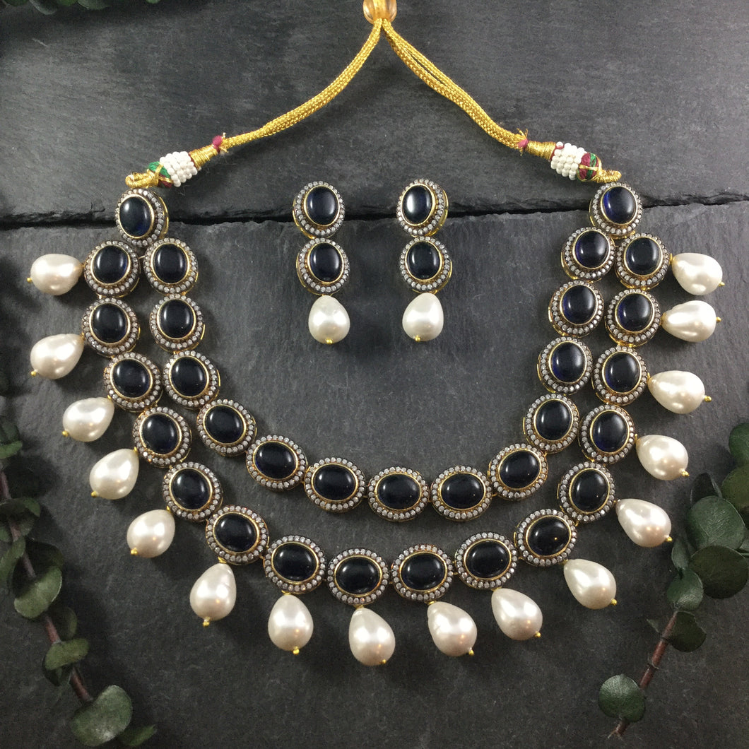 OP370 GLAMOUR 2 LINE SEMI PRECIOUS STONES WITH HANGING PEARLS