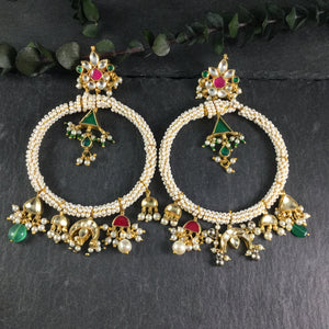 SG2593 EARRING BIG PEARL HOOPS