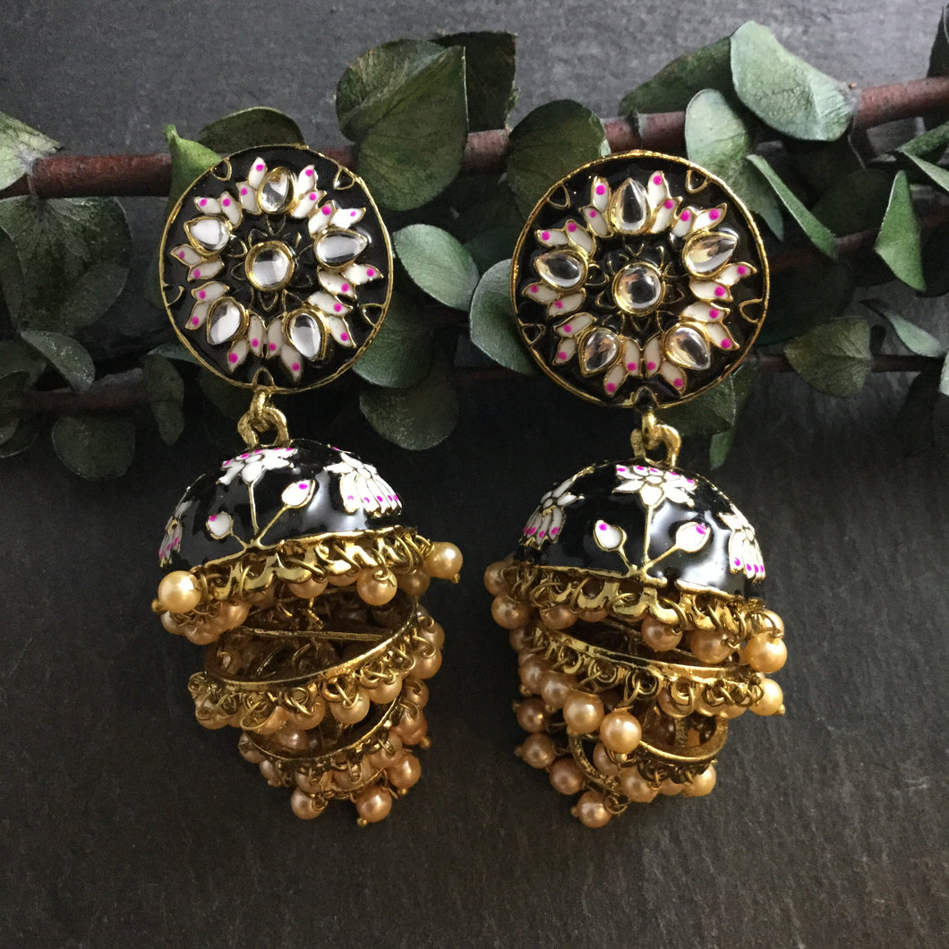 PP3229 EARRINGS MEENA TRIPLE JHUMKI