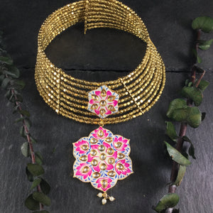 SG2658 WIRE CHOKER GOLD HOT PINK MEENA