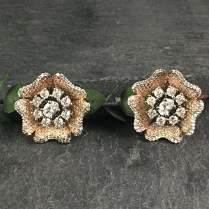 OP350 EARRING STUDS FLOWER OXIDISED ROSE GOLD