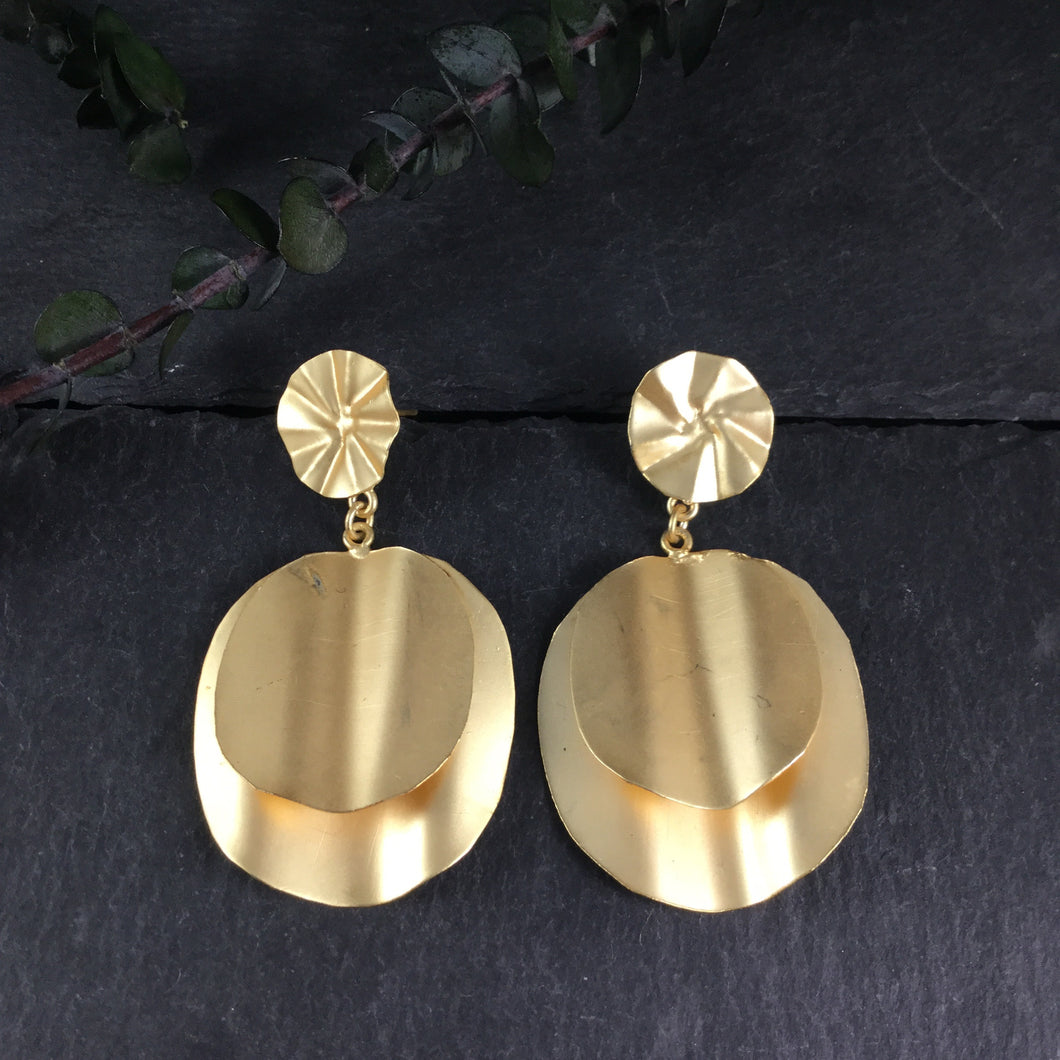 SG2595 EARRING LIGHTWEIGHT FUNKY GOLD