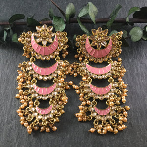 PP3473 EARRING LAYERED CHANTELLE PINK
