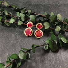 PP2678BE EARRING 2 CIRCLE SMALL RUBY