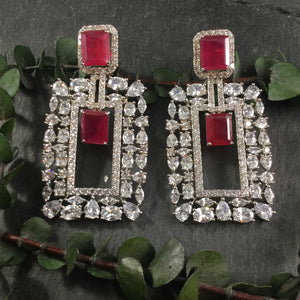 GA139 EARRING RECTANGLE DIAMONDESQUE RUBY