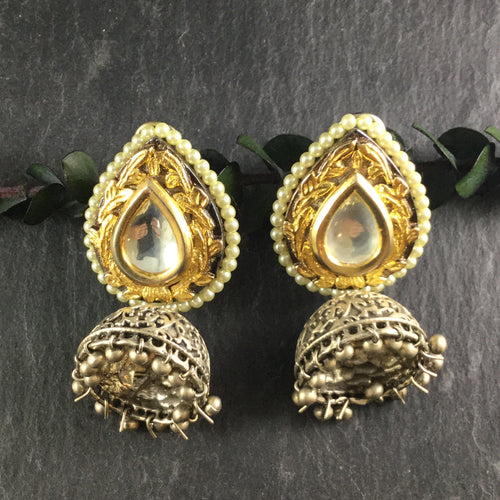 SG2538 Earring Gold Silver Jhumka
