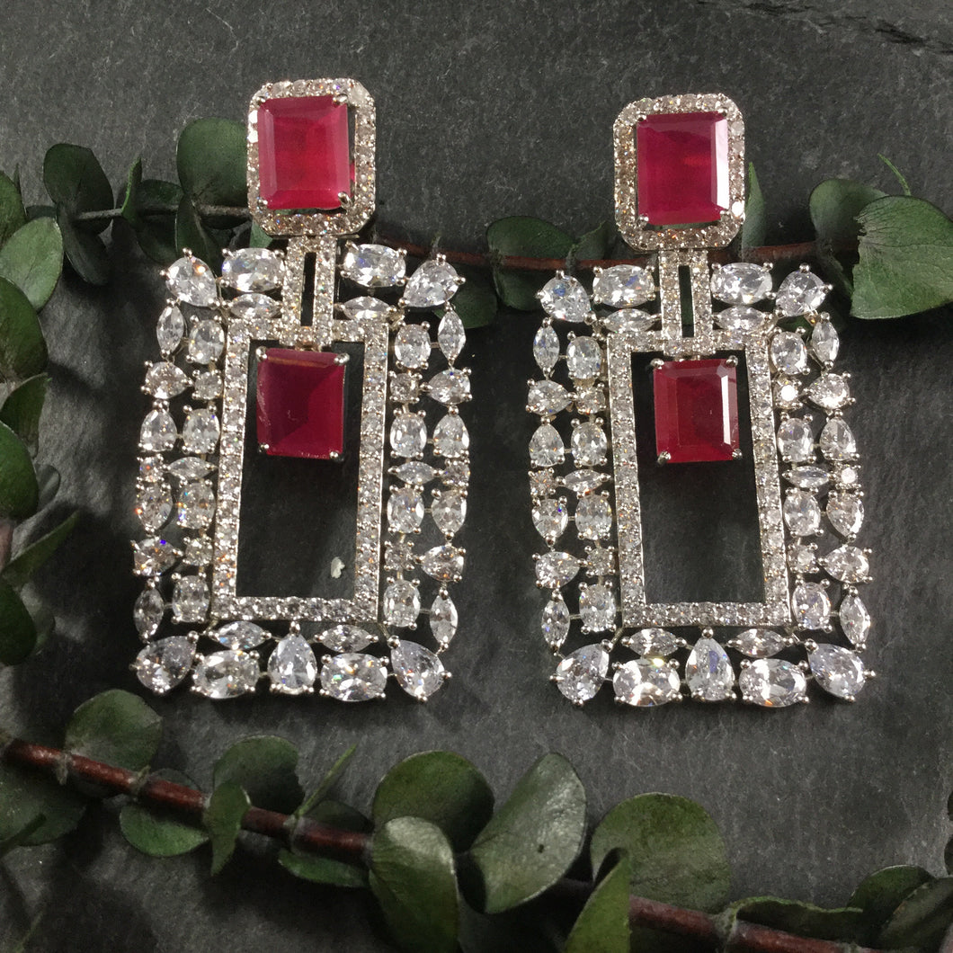 GA138 EARRING RECTANGLE DIAMONDESQUE RUBY