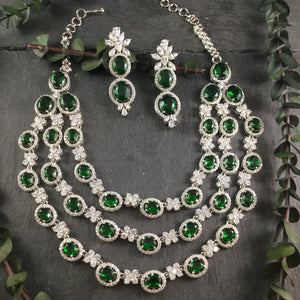 GA162 GLAMOUR DIANA 3 LINE GREEN SET WITH EARRINGS