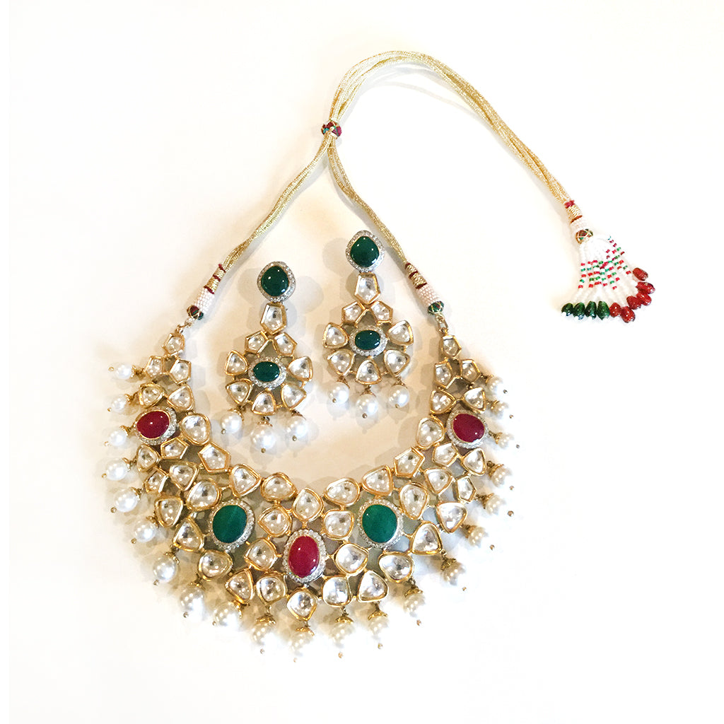 SG1218 LARGE KUNDAN AND PEARL SET WITH GREEN AND RED STONE ACCENTS