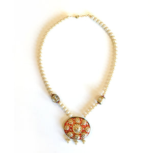 SG1340 TRADITIONAL PEARLS AND RED MEENAKARI ENAMEL PENDANT