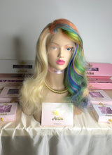 Custom dye rainbow human hair wig