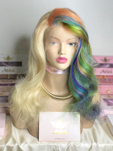 Rainbow lace frontal custom wig