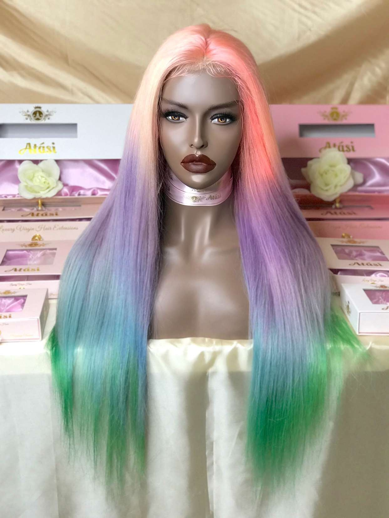 $260+ | 100% Human Hair Unicorn Rainbow Lace Wig | Custom Hand Dyed