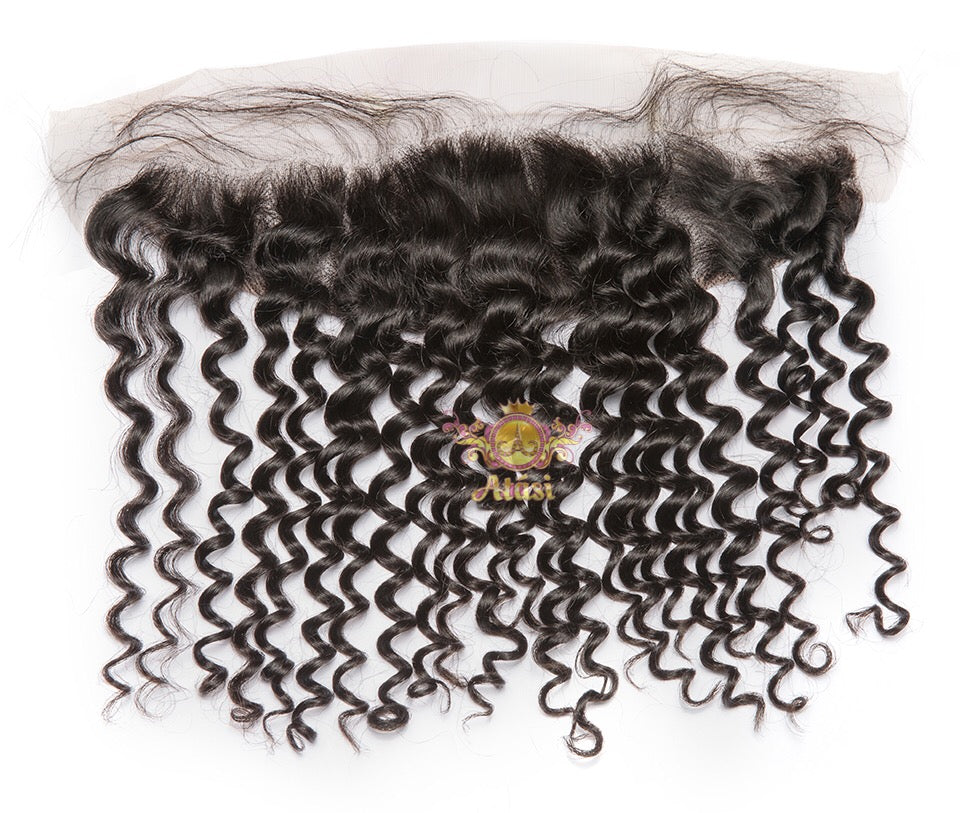 $25+ | Atási 00% Virgin Human hair curly deep wave lace frontal - HD Lace