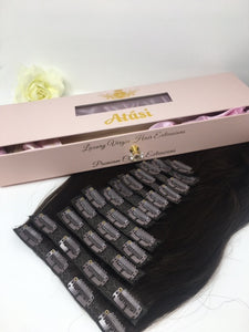 $125+ | Atási  100% Remy Human Hair- 13pc Clip in Human hair extensions ❌Shed