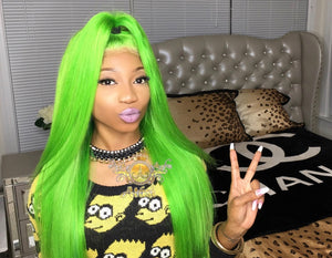 Atási 100% human hair lime green lace frontal wig