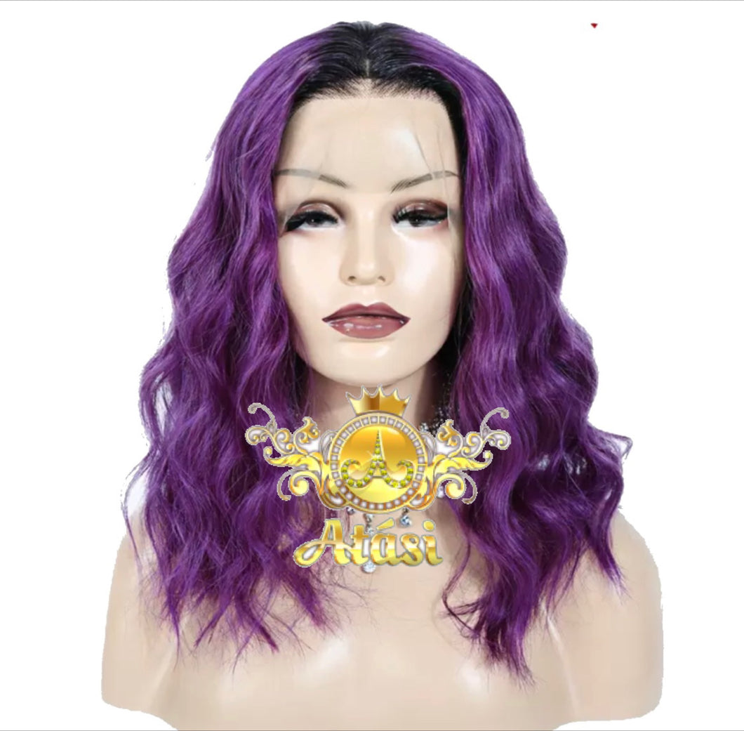 From $155+ | 100% Human Hair, 3 Day Ship | Black & Purple ombré lace front wig