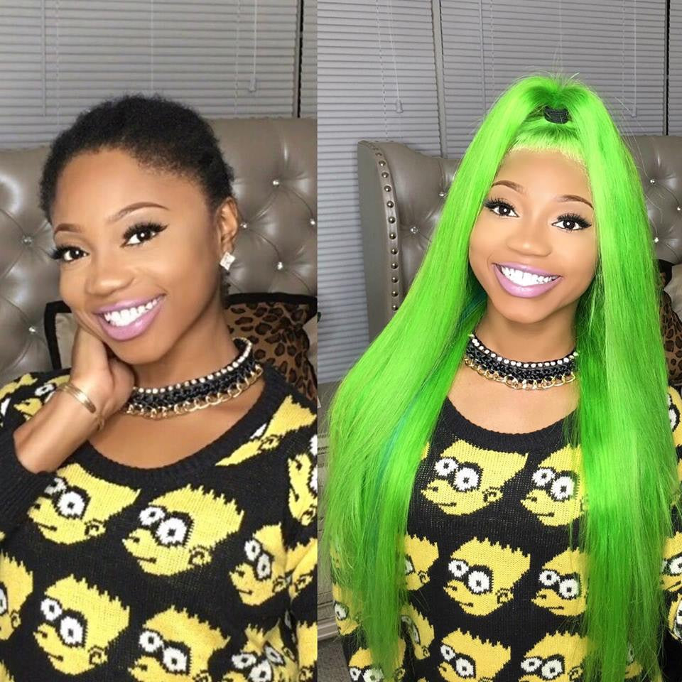 100% human hair lime green lace front