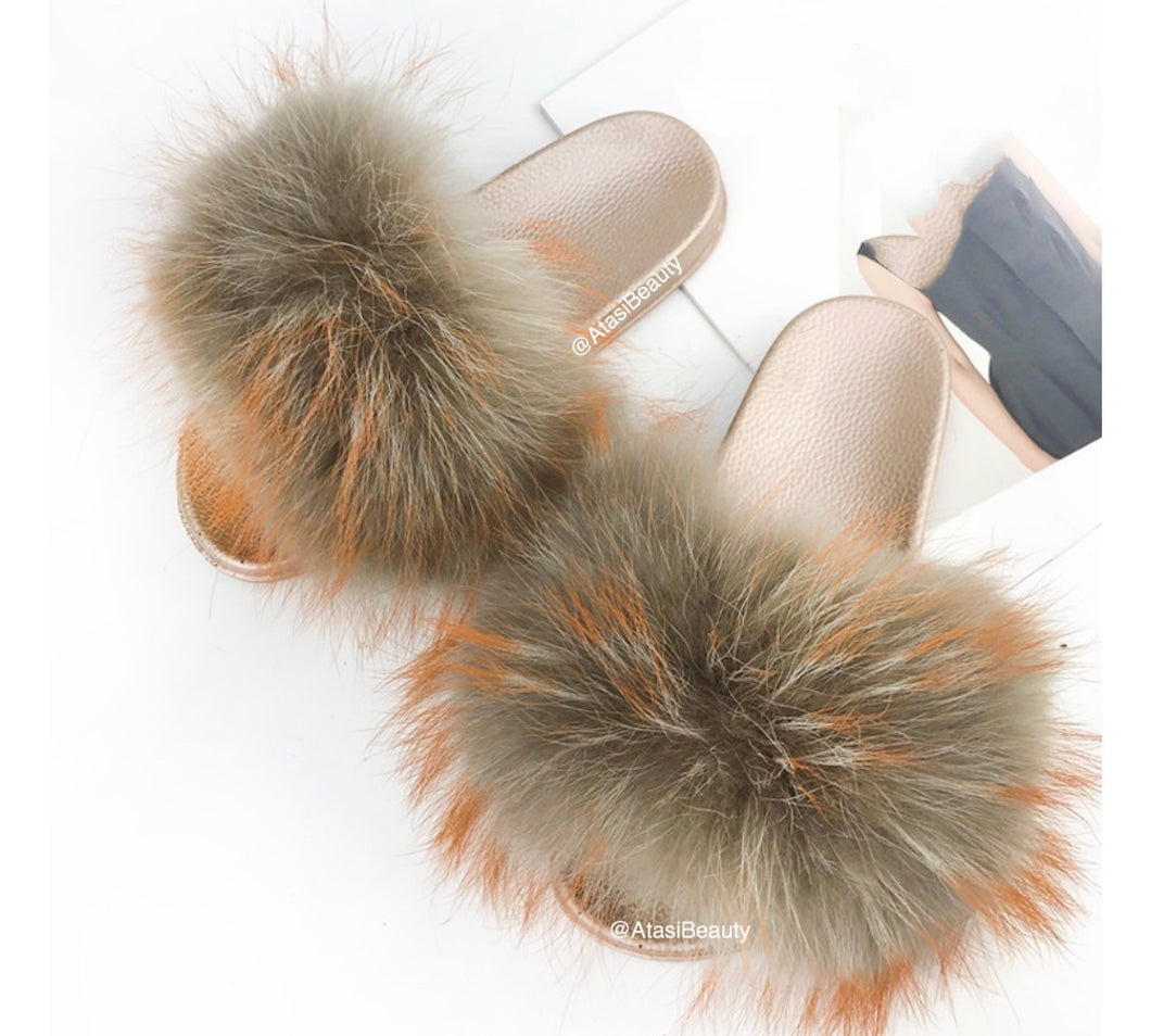 Beige Meringue Fur Slide