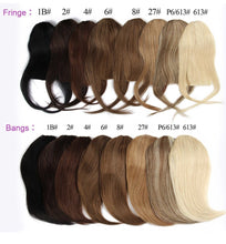 Atási 100% clip in human hair bangs color chart