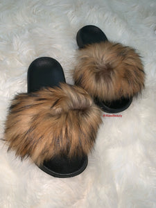 Raccoon Beige fur slide