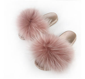 Pink Winter Fur Slide