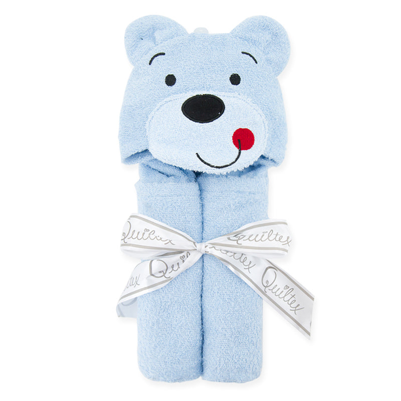 Animal Design Cotton Terry Hooded Towel - Blue Bear - Just Kidding