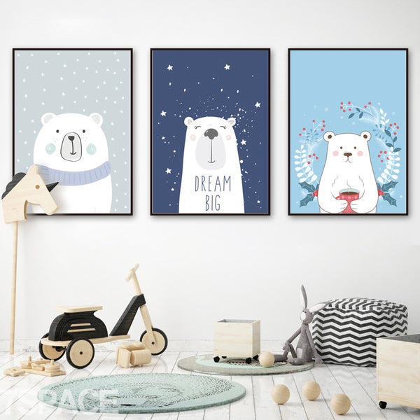 Animal Print Canvas Paintings  - Three Little Bears