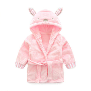 Pink Bunny baby and kids flannel bathrobes nightgown  - Just Kidding