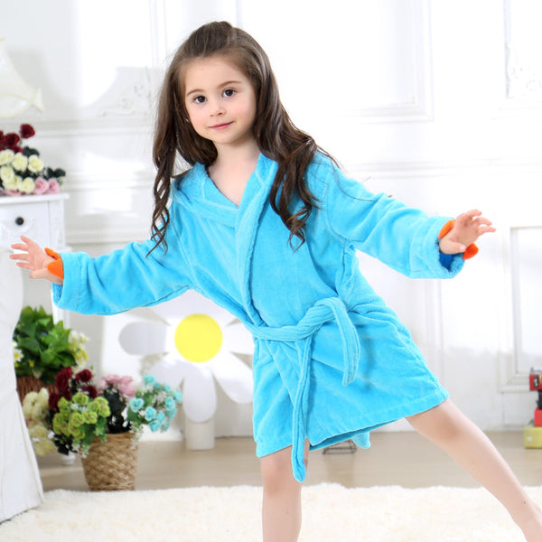 Velvet Hooded Bath Robe - Blue Dinosaur