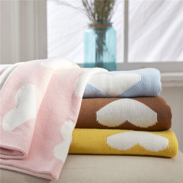 Double Sided Cotton Blanket  Hearts - Just Kidding Store