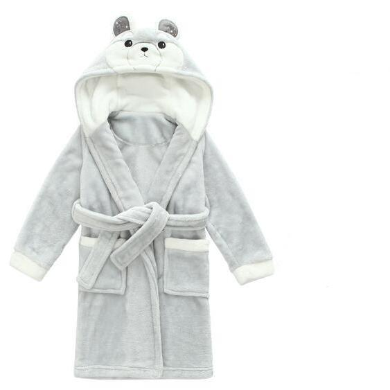 Hooded Flannel Dressing Gown - Silver Bear Bathrobe