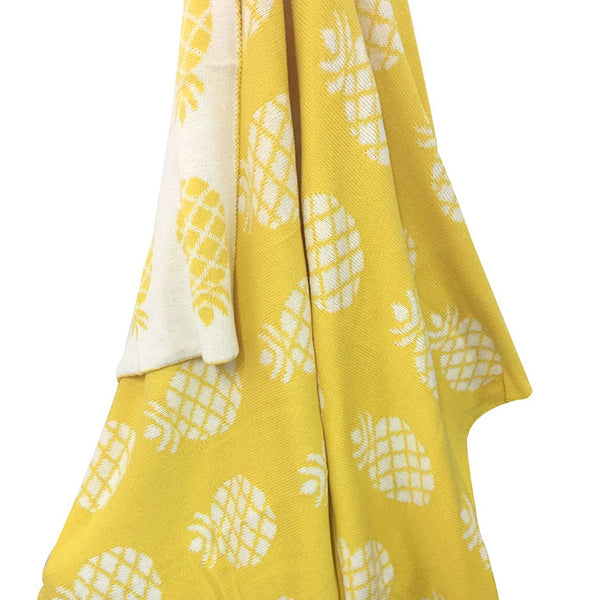 Gold Pineapple Cotton Knitted Blanket - Just Kidding Store