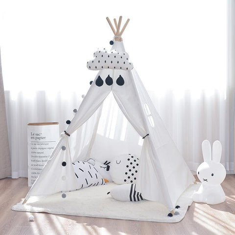 Four Poles Teepee -  Kids Indian Tipi Play Tent - Just Kidding Store