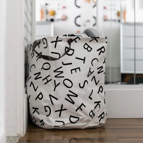 Monochrome Super Large Toy Storage Hamper Bag - Laundry Basket - Just Kidding Store