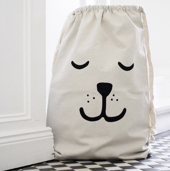 Canvas Storage Bag - Sleepy Bear Kids Toys Pouch - Just Kidding Store