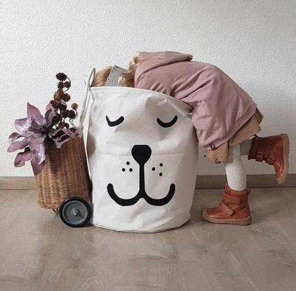 Sleepy Smily Bear Toy Storage Bag Laundry Basket - Just Kidding Store