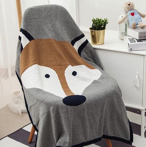 Cotton Knitted Blanket  - Reversible Throw Blanket - Fox