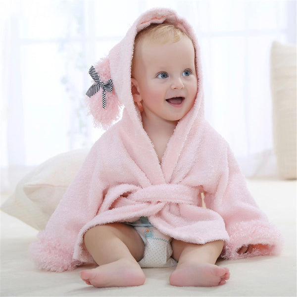 Baby Hooded Animal Cartoon Bathrobe - Pink Sheep - Just Kidding Store