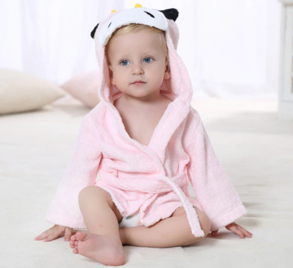 Baby Hooded Bathrobe - Terry Towel - Pink Cow - Just Kidding Store