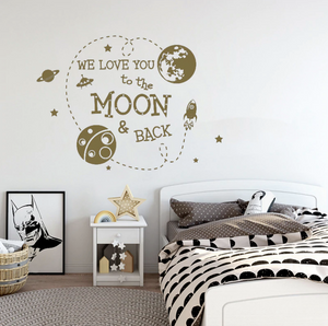 To The Moon And Back Wall Decal Outer Space Vinyl Sticker Just Kidding Store