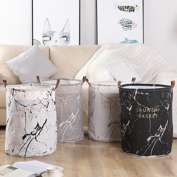 Marble Laundry Baskets - Black-White-Gray - Just Kidding Store
