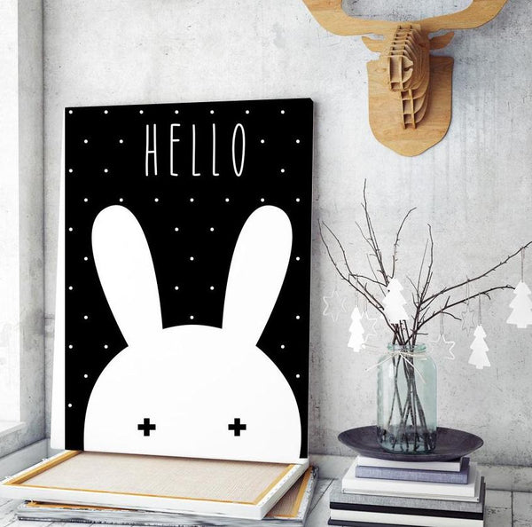 Black White Miffy Canvas Print Bunny Wall Art -  Just Kidding Store