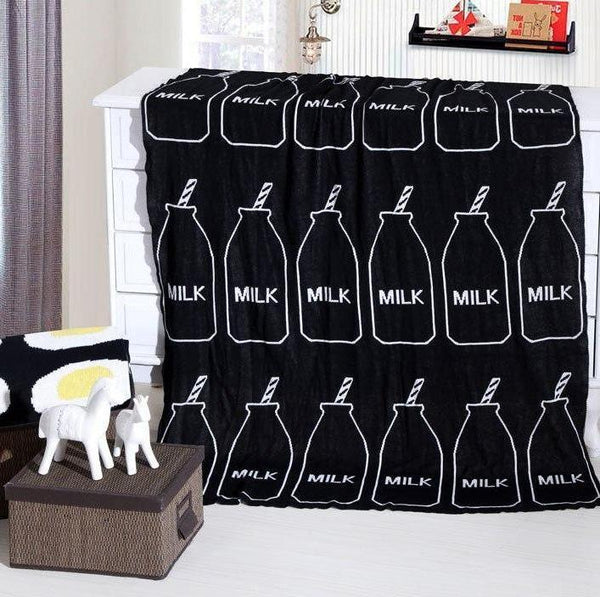 Black Milk Cotton Knitted Kids Blanket Milk Bottle Just Kidding Store