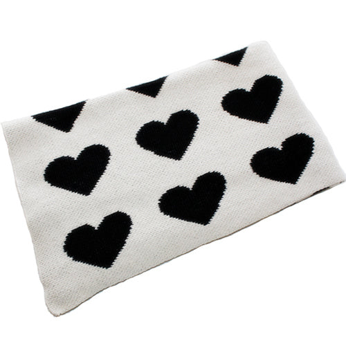 Black Hearts Cotton Knitted Kids Blanket
