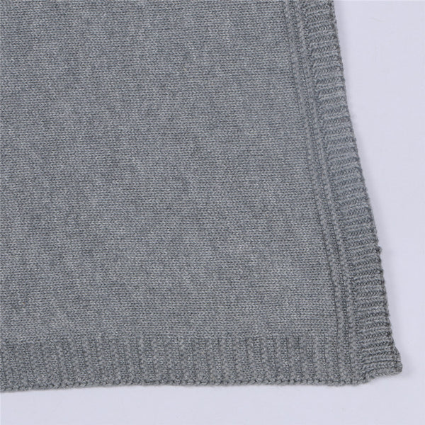Cotton Knitted Rabbit Ears Blanket - Gray