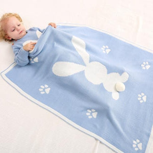 Little Bunny Rabbit Baby Toddler Kids Knit Blanket Just Kidding Store