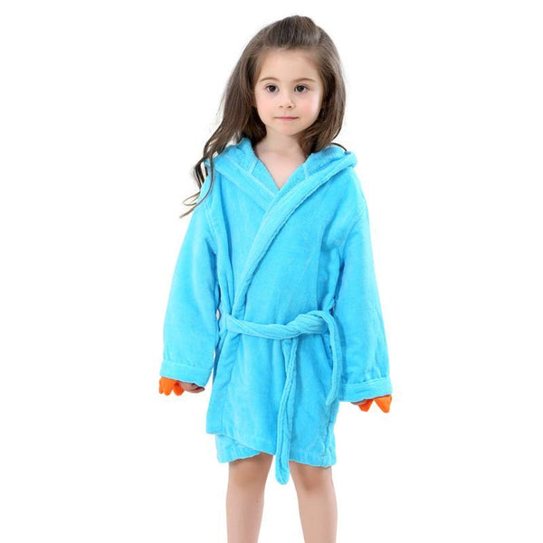Velvet Hooded Kids Bath Robe - Blue Dinosaur