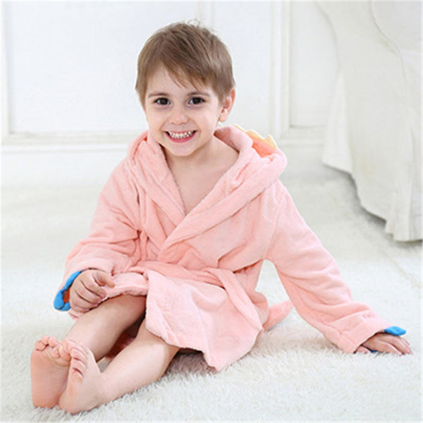 Velvet Hooded Kids Bath Robe - Pink Dinosaur