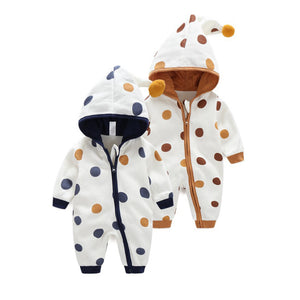 Baby Hooded Romper - Toddlers Polka Dot Jumpsuit - Just Kidding Store